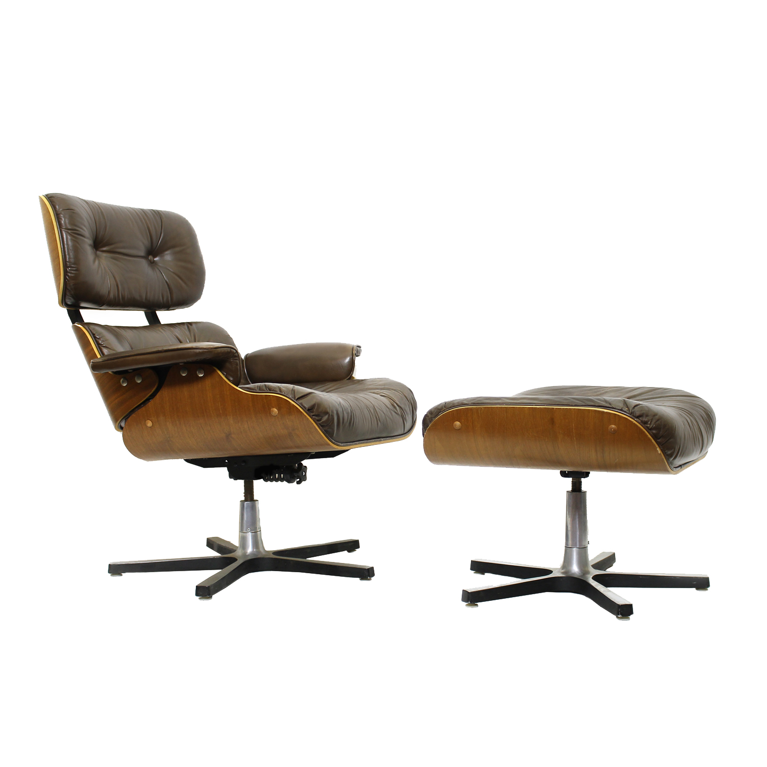 Vintage Canadian-Made Eames Style Lounge Chair and Ottoman, 1971