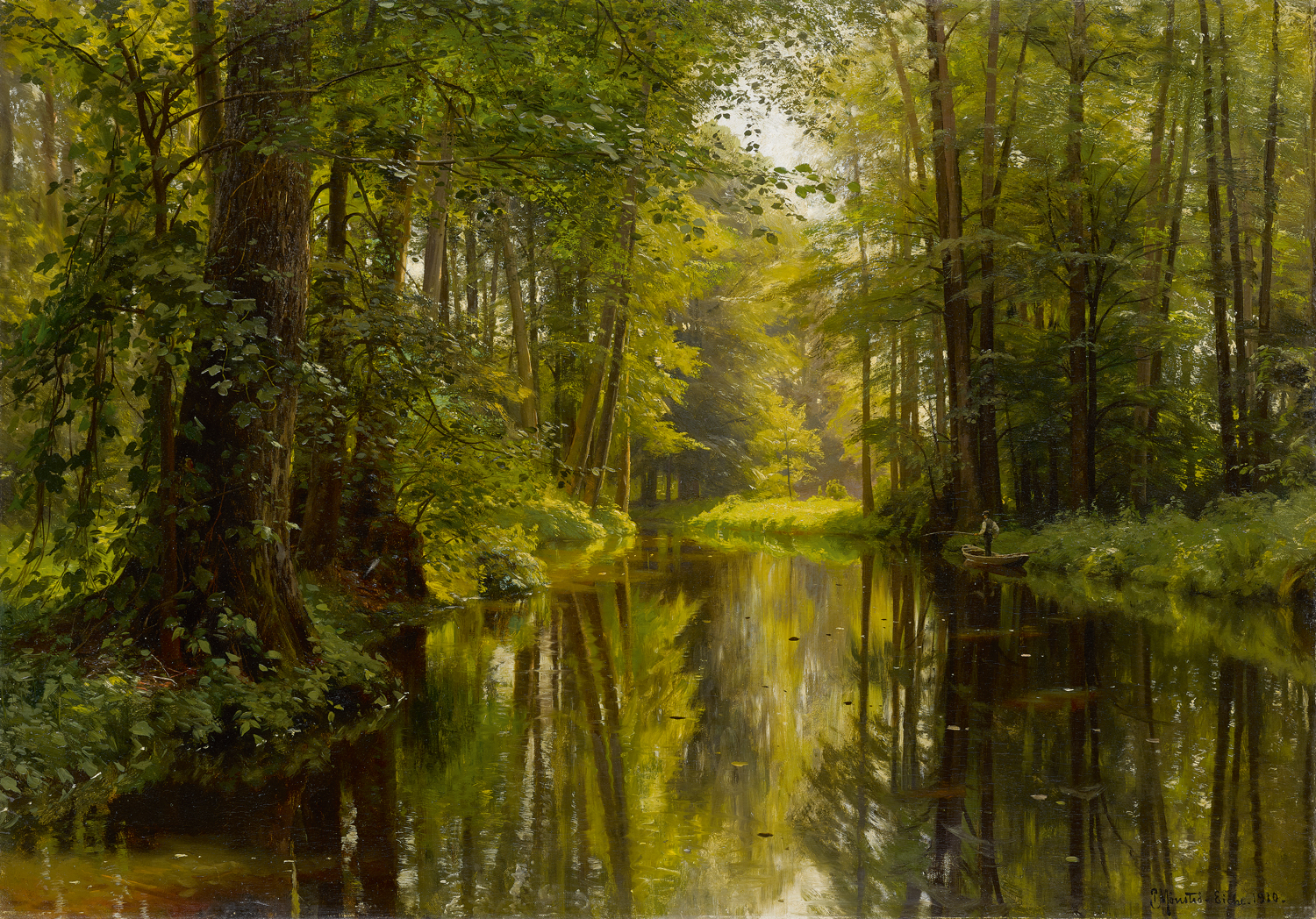 Peder M. Monsted (Danish 1859-1941) 'Fishing from a Punt'