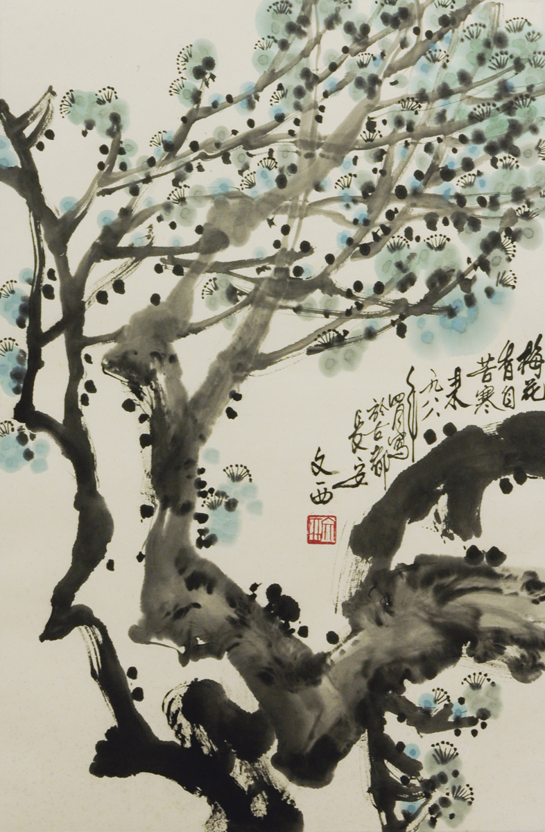 Liu Wenxi (Chinese born 1933) 'Tree Branches with Blossoms'