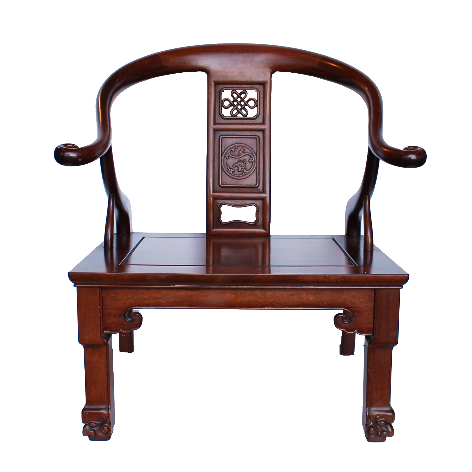Low Chinese Chair with Carved Decoration, Mid 20th Century