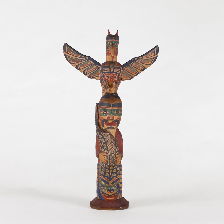 Charlie James (Yakuglas) (Kwakwaka'wakw (Kwakiutl) Circa 1870-1938)wooden totem pole.jpg