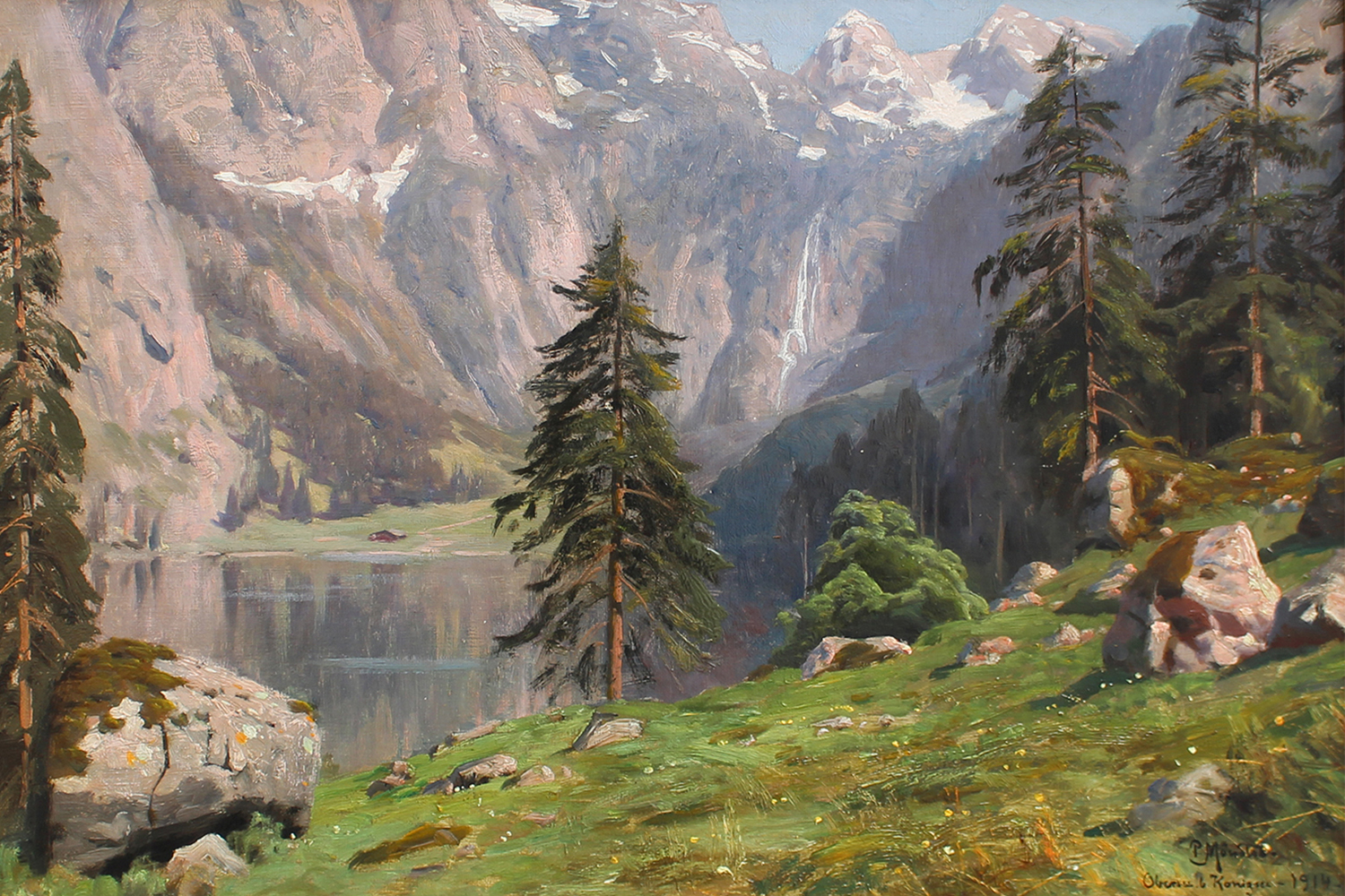 Peder M. Monsted (Danish 1859-1941) Summer Day at Obersee Bei Konigsee