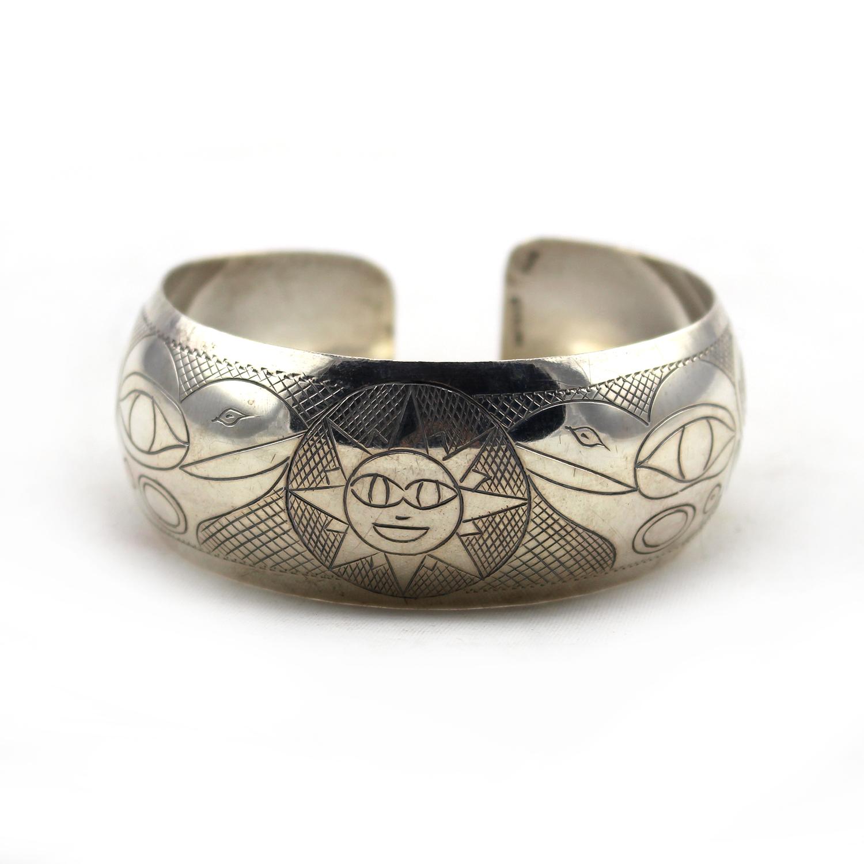 Silver, raven and sun bracelet