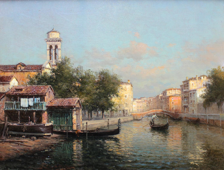 Auguste Bouvard/Marc Aldine (French 1882-1956) Backwater Venice