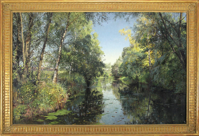 Peder M. Monsted (Danish 1859-1941)  A Summer River Landscape 1894