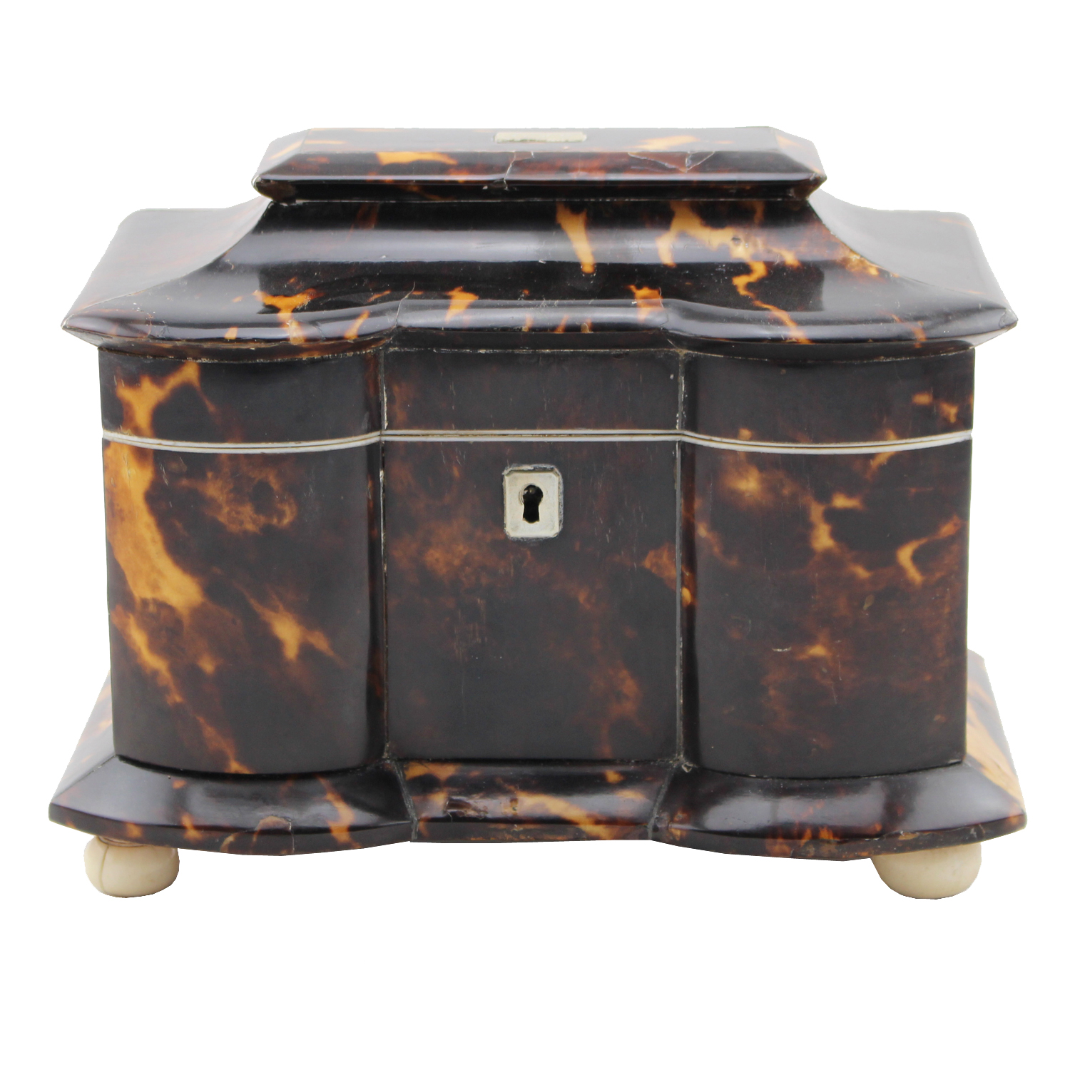 Regency Tortoiseshell Tea Caddy, Circa 1835