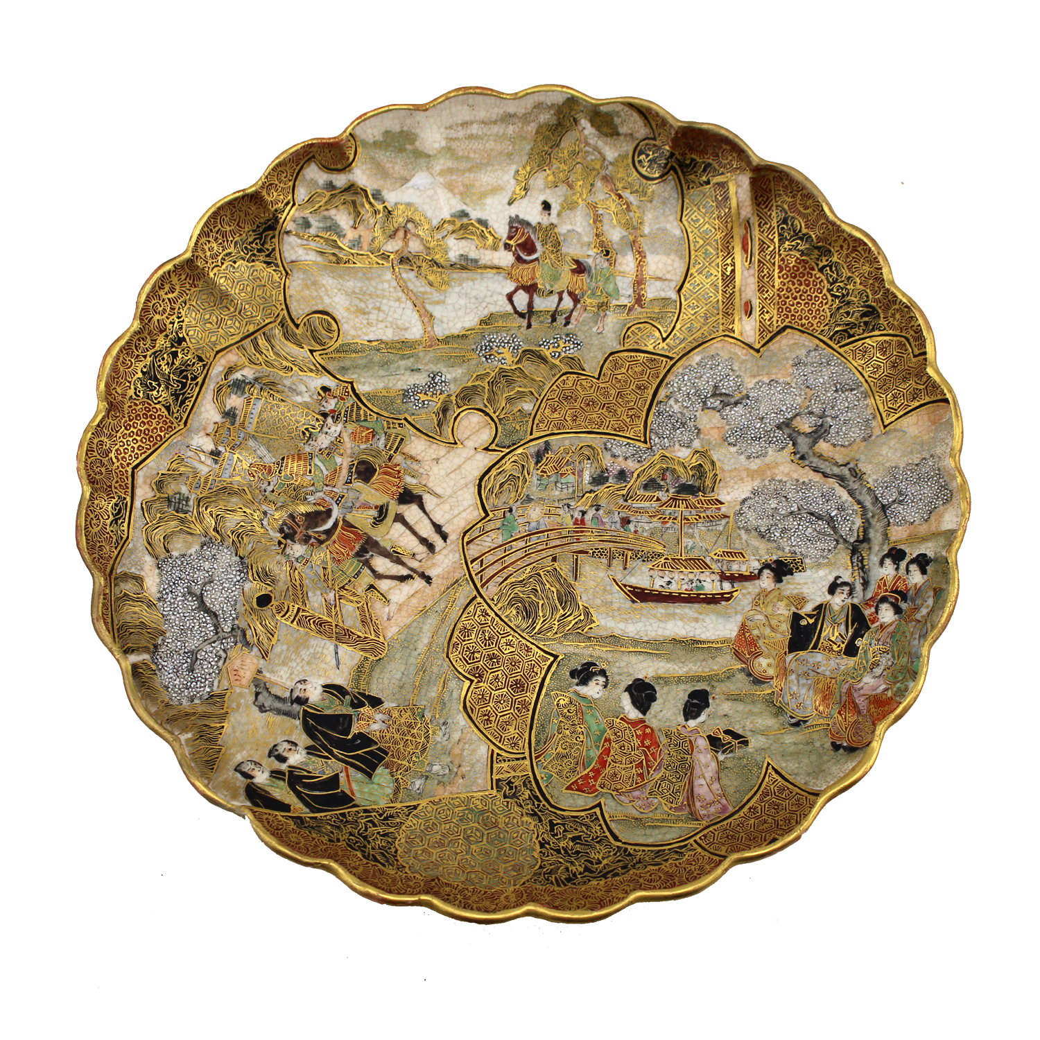 Japanese satsuma plate with scalloped edge, decorated with village scenes and figures