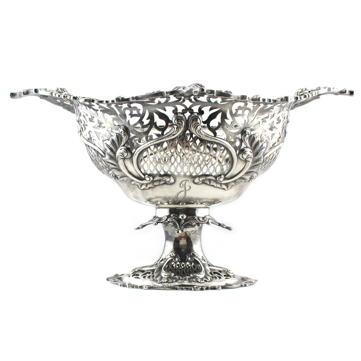 Victorian Sterling Silver Footed Basket with Pierced Decorations, London 1890