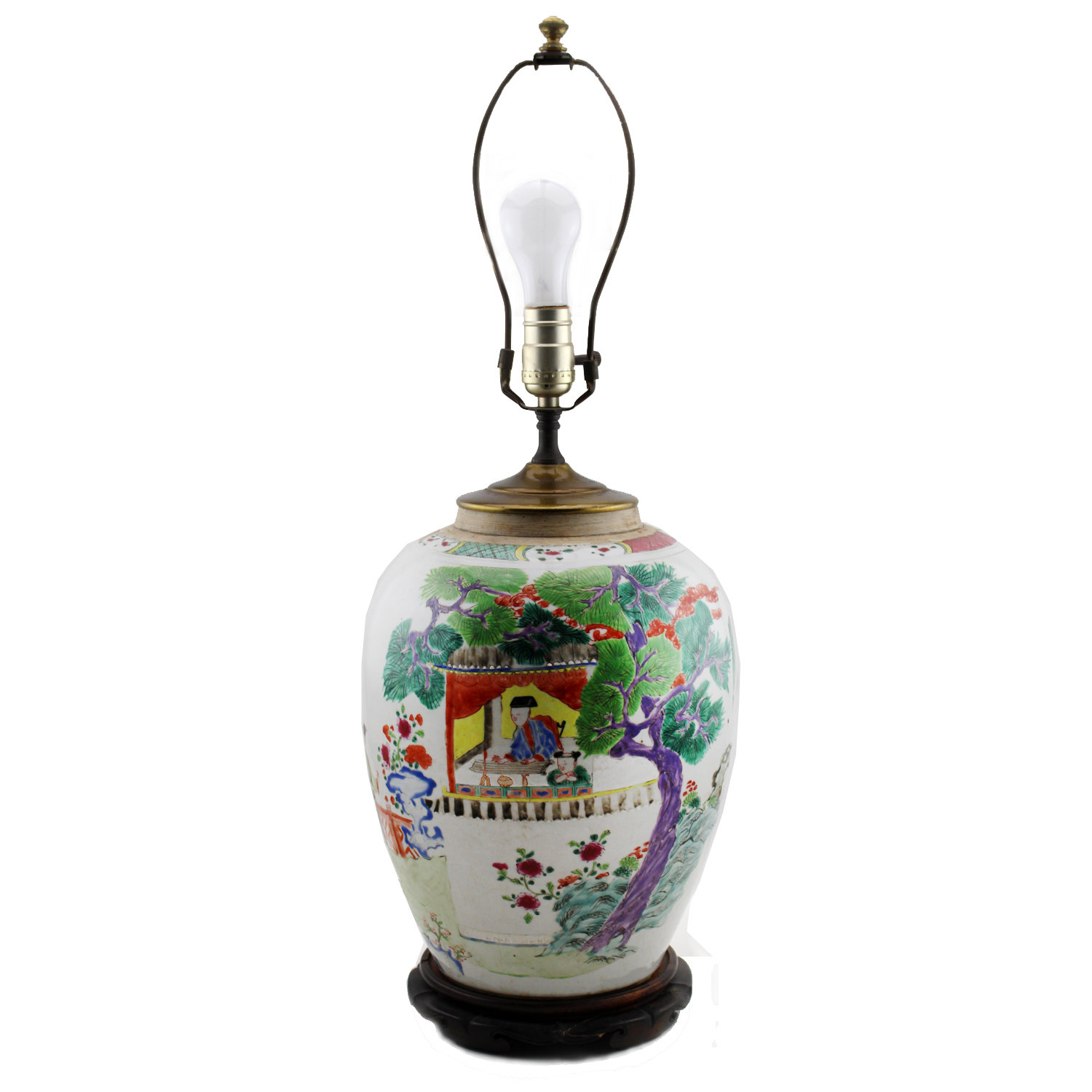 Chinese Famille Rose Porcelain Vase Converted Lamp, Circa 1900
