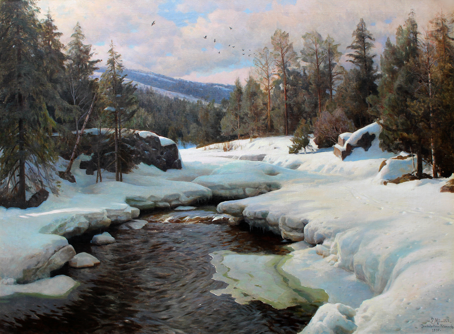 Peder M. Monsted (Danish 1859-1941) April Day With Spring Thaw, Jondalselven, Telemark