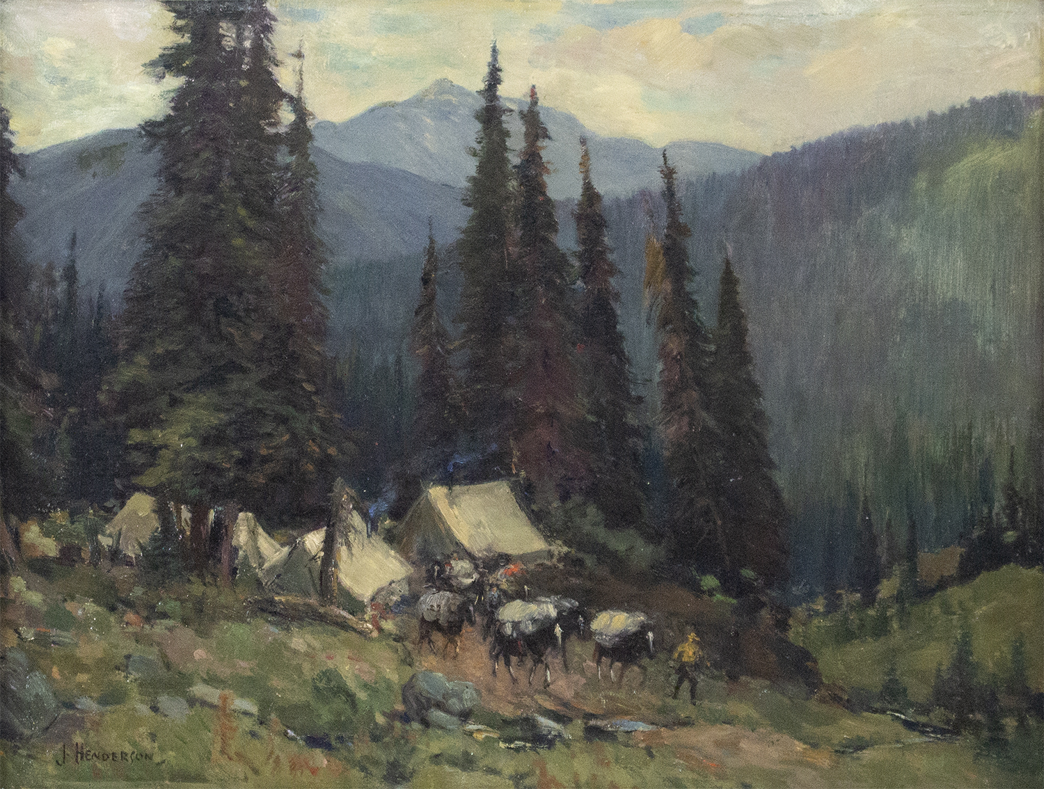 James Henderson (Canadian 1871-1951) Rocky Mountain Encampment