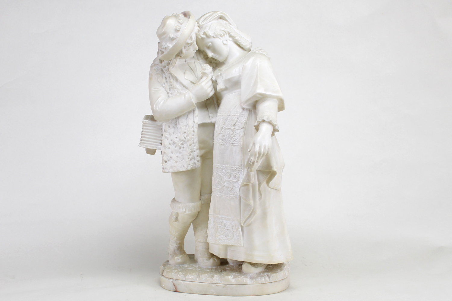 Musician Couple alabaster sculpture, unsigned, 19th century
