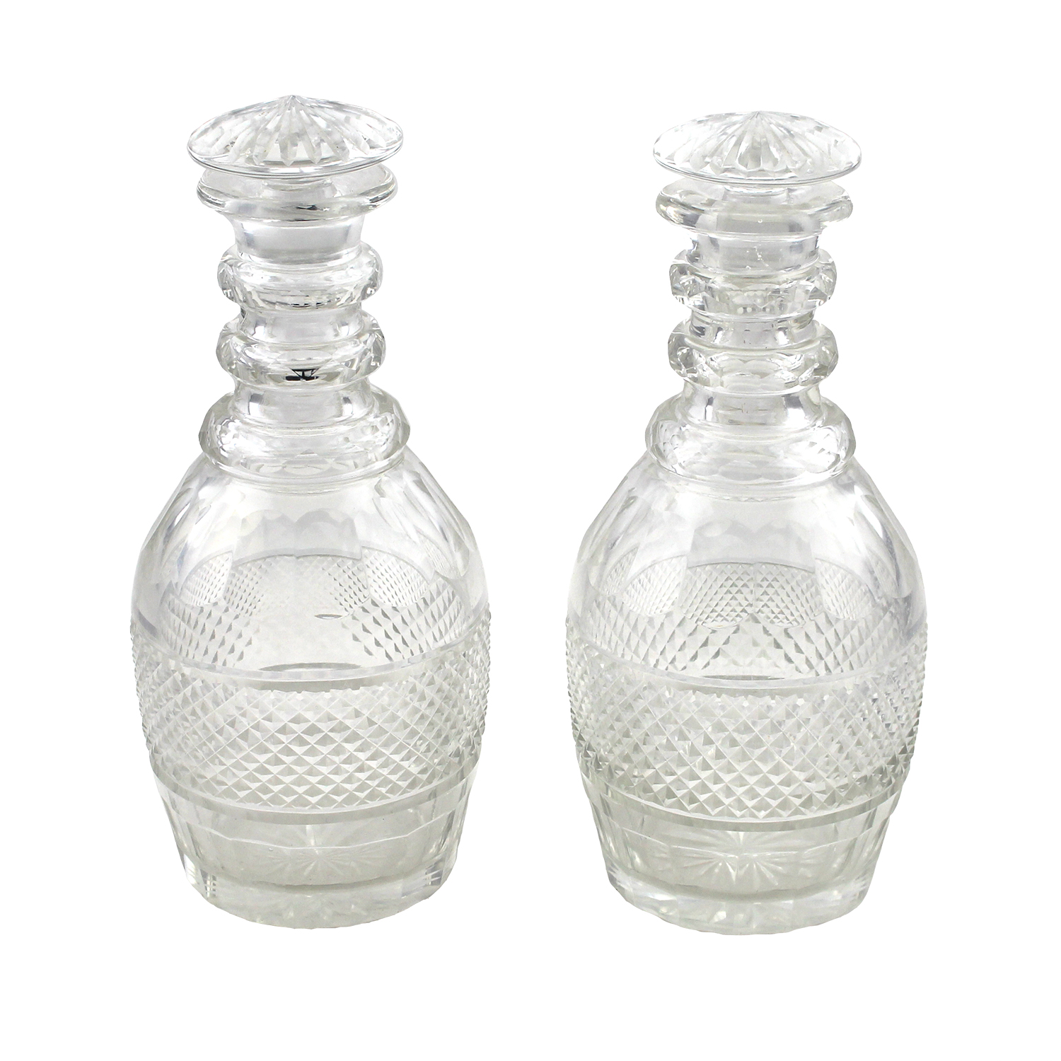 Pair of English Cut Glass Decanters