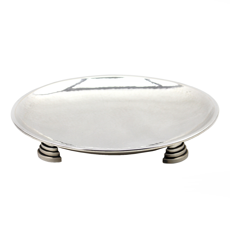 Hammered Art Deco German Silver 835 Dish, 20th Century