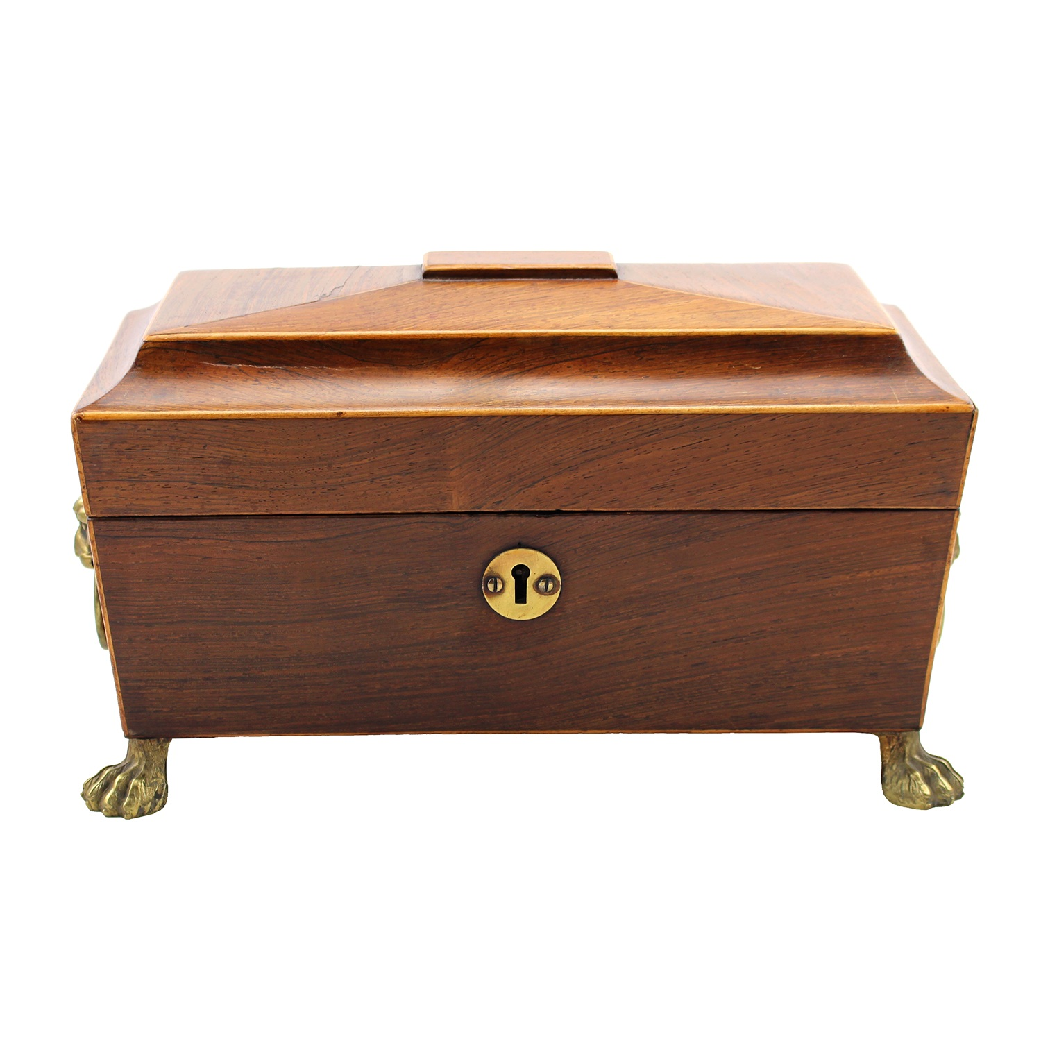 Mahogany Tea Caddy With  Lion Paw Feet, 19th Century