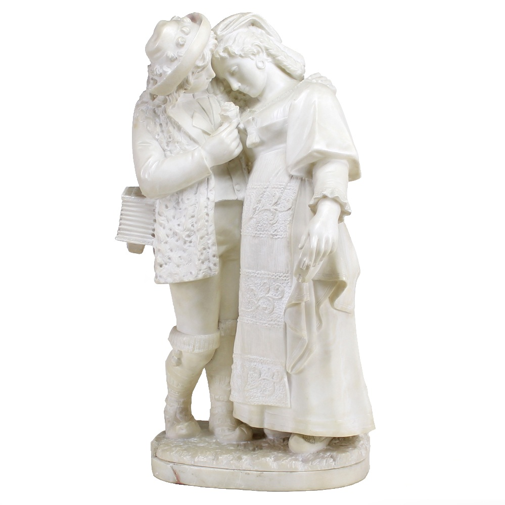 Musician Couple Sculpture, 19h Century