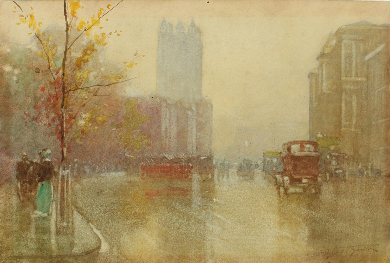 Frederic Marlett Bell-Smith (Canadian 1846-1923) Rainy London Street Scene