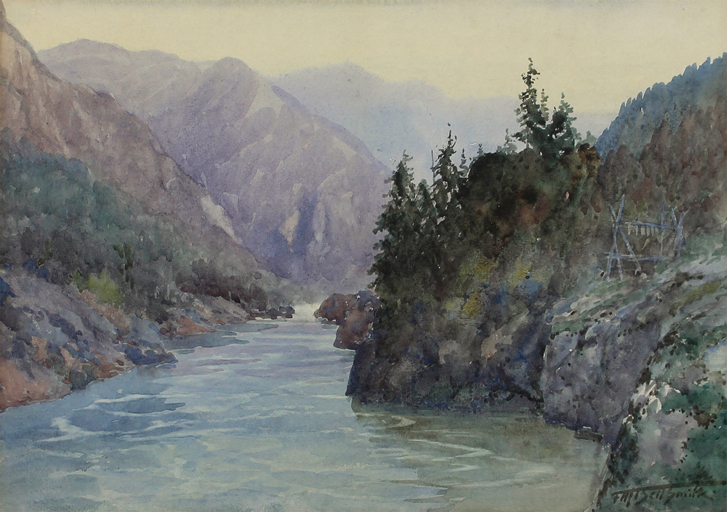 Frederic Marlett Bell-Smith (Canadian 1846-1923)Indian Fishing Platform, Fraser Canyon