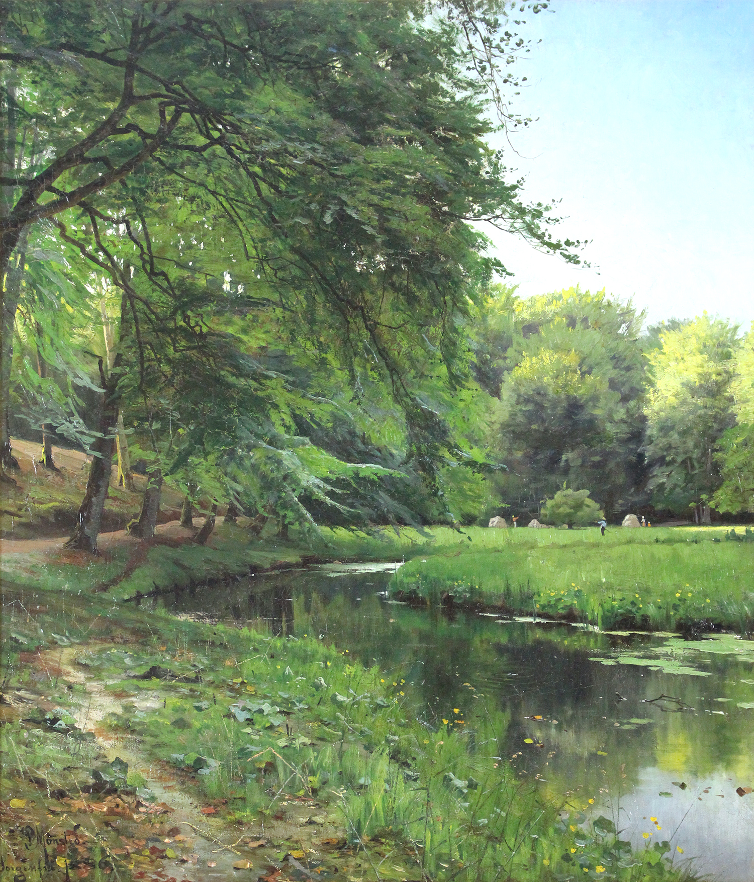 Peder M. Monsted (Danish 1859-1941) A Clearing in The Forest at a Stream with Harvest Workers