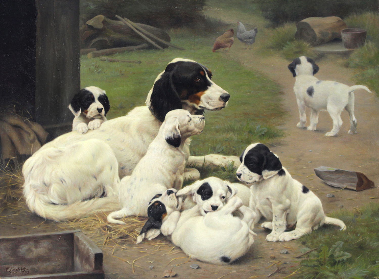 Ejnar Vindfeldt (Danish 1905-1953) English Setter with Six Puppies