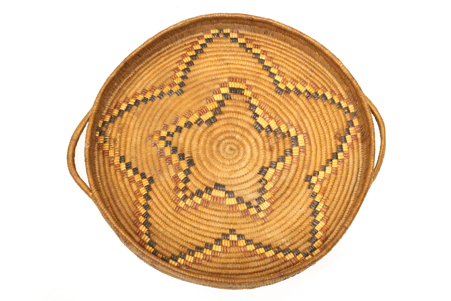 Salish Woven Tray Surrounded by Gallery, Circa 1920