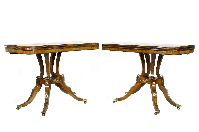 "Pair of Georgian ""D"" End Hardwood Centre Pedestal Tables, English Circa 1815"