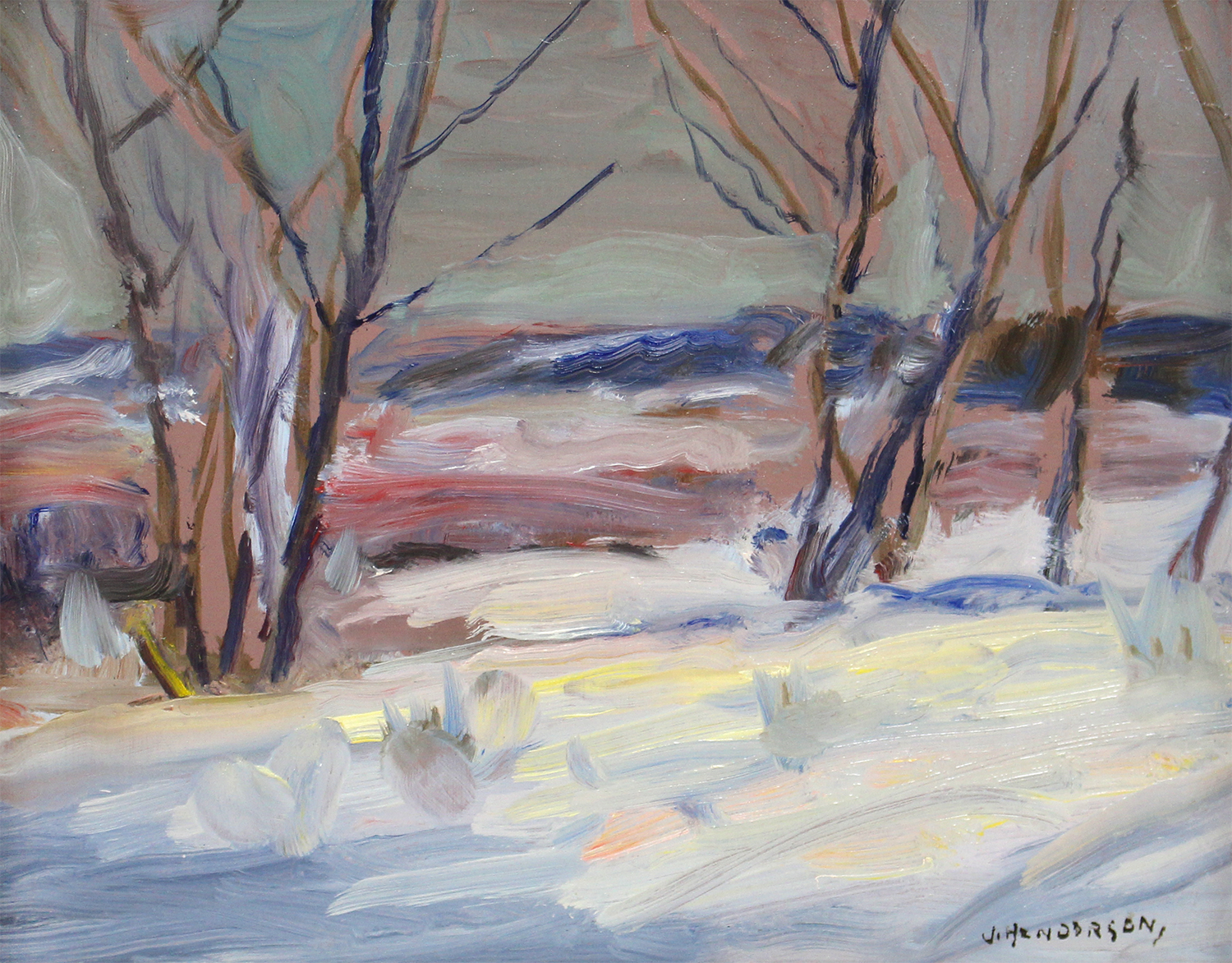 Historical Canadian painting by James Henderson (Canadian 1871-1951) 'Sketch of Our Backyard'