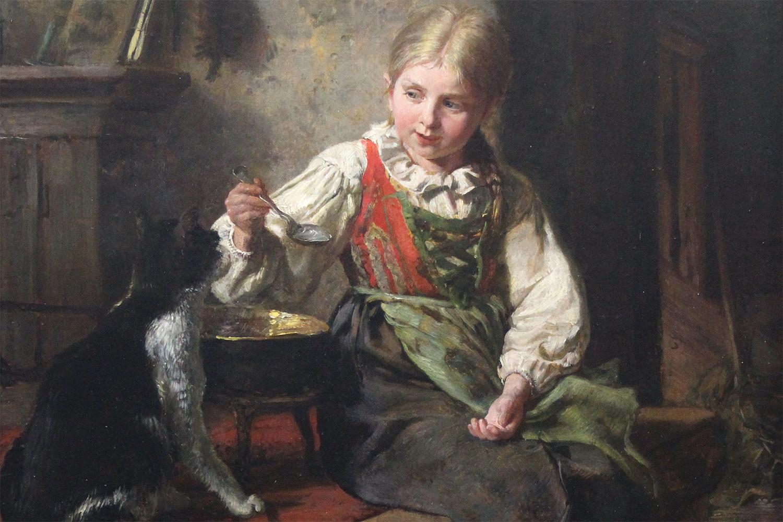 Felix Schlesinger (German 1833-1910) Feeding the Cat