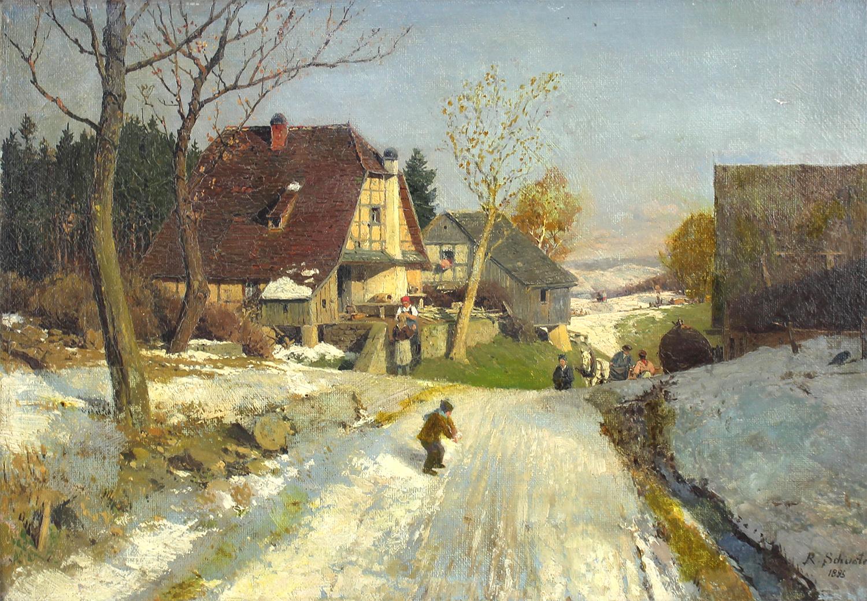 Rudolf Heinrich Schuster (German 1848-1902) The Snowball Fight