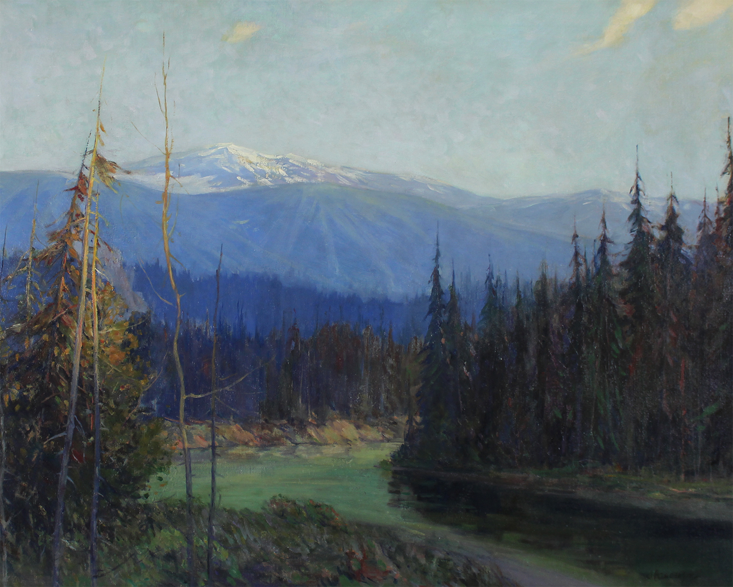 Historical Canadian painting by James Henderson (Canadian 1871-1951)  Meeting of Two Rivers