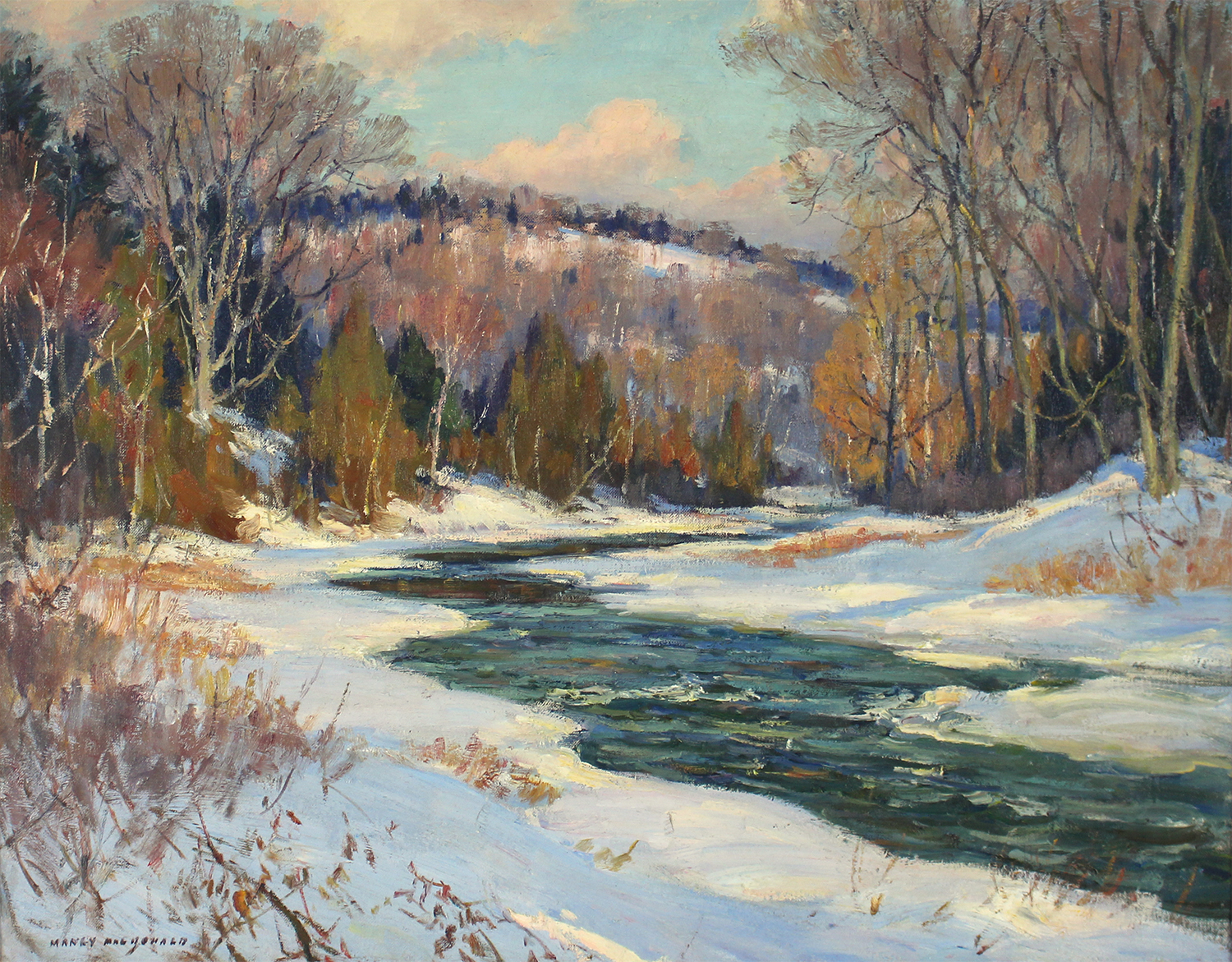 Historical Canadian painting by  Manly Macdonald (Canadian 1889-1971)   Winter Breakup on The Don