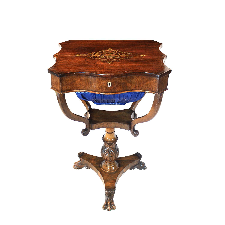 Continental Rosewood Worktable, Circa 1820