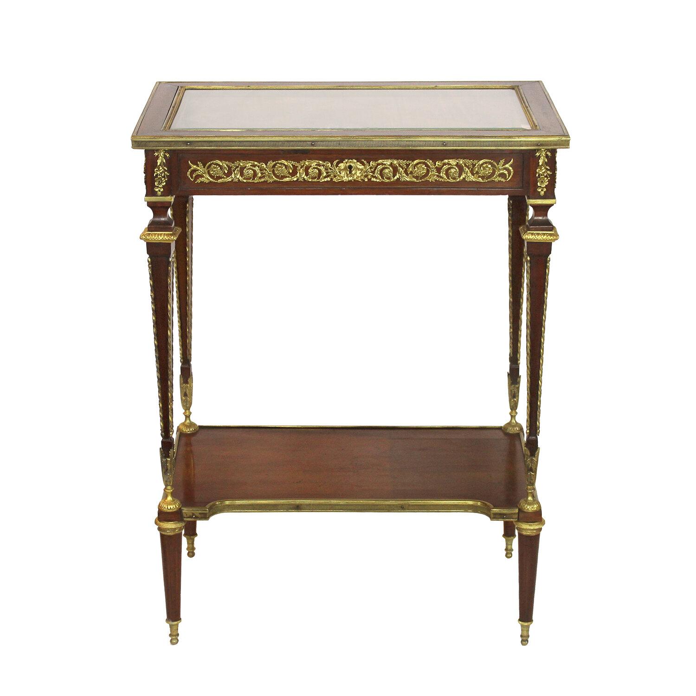 French Ormolu-Mounted Mahogany Vitrine Table, Late 19th Century