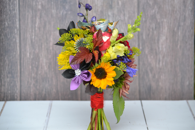 Primary colours bouquet with sunflowers, solidago, agapanthus, antirrhinums, Nostalgia rose, Dill, Echinops and Mondarda. (and paper flowers)