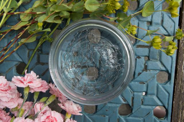 Vase with chicken wire