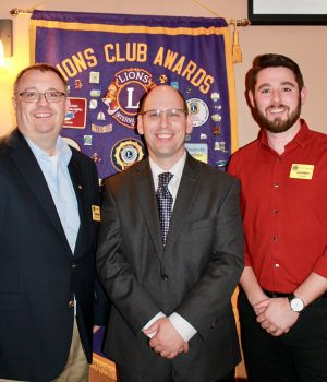 Oswego County District Attorney Gregory Oakes, center, was the guest speaker at the October meeting of the Fulton Lions Club. He was introduced by Past President David Guyer, left, and welcomed by President Zach Merry.