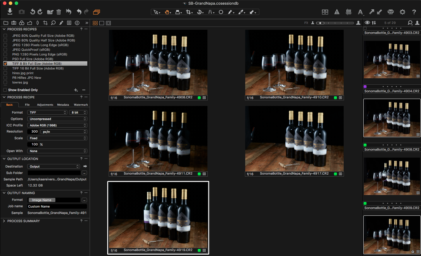 """A view of the five images in CaptureOne required to composite together the final shot. Note the different lighting scenarios, the """"guest bottle"""" providing edge reflected highlights and the cute corkscrew I found in Graton the other day :)"""