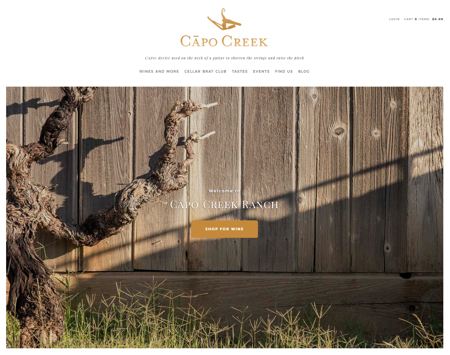 Sonoma Bottle also does landscape photography.  Here our image is the landing page header for Capo Creek Winery.