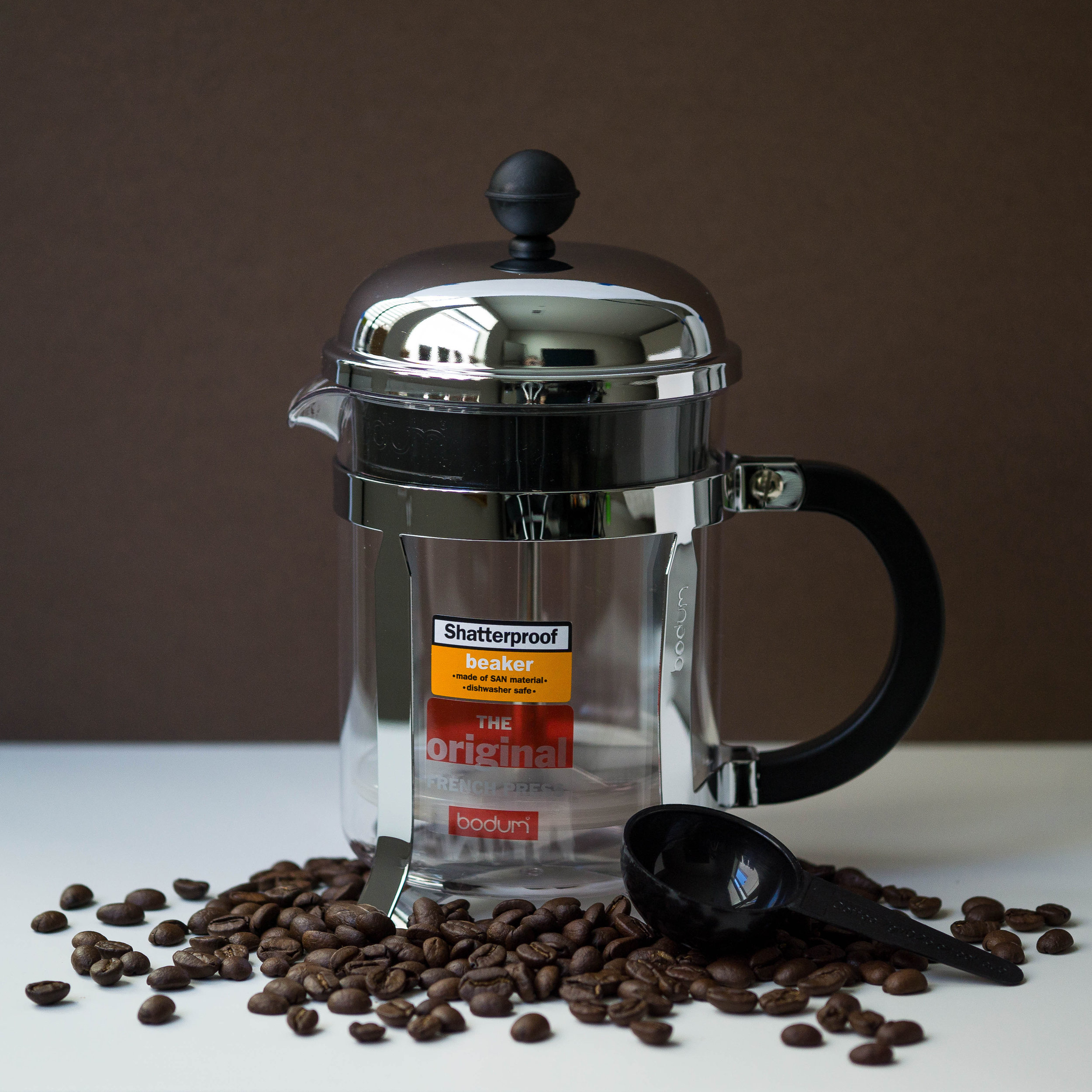Coda Coffee Company French Press, small and large