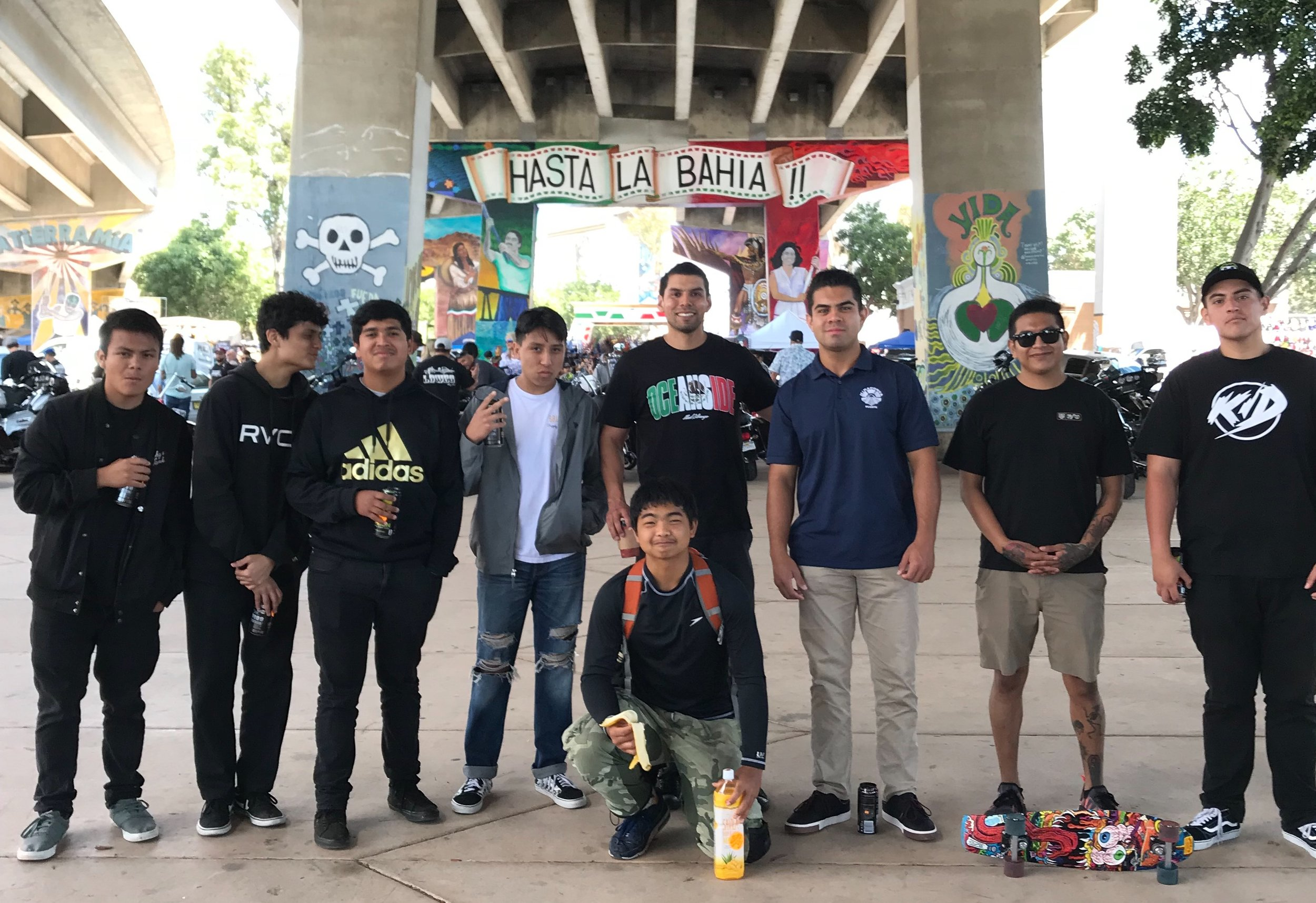 Latino Young Men Success Pilot mentors and mentees took a trip to Barrio Logan for the 49th Annual Chicano Park Celebration THANKS TO SUPPORT FROM GENENTECH'S VIDA EMPLOYEE GROUP.