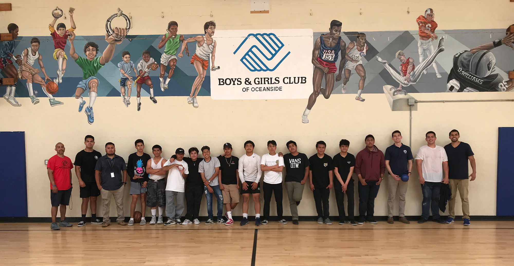THE LATINO YOUNG MEN SUCCESS MENTORS TOOK THE TEENS FROM OCEANSIDE HIGH SCHOOL AND EL CAMINO HIGH SCHOOL TO THE BOYS & GIRLS CLUB OF OCEANSIDE TO TAKE A BREAK FROM THEIR WEEKLY CLASSROOM ROUTINE AND TO RUN OFF SOME ENERGY. THE AFTERNOON WAS A HIT WITH MORE VISITS PLANNED FOR THE SUMMER.