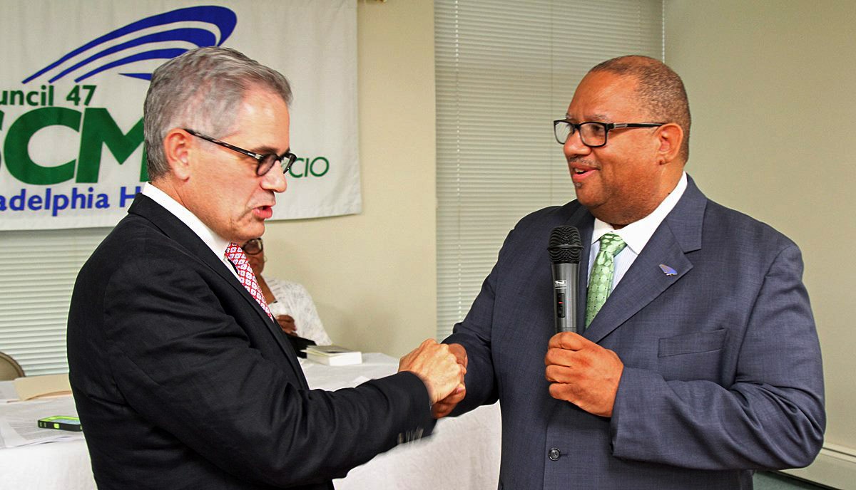 Larry Krasner and DC 47 President Fred Wright (June 22)