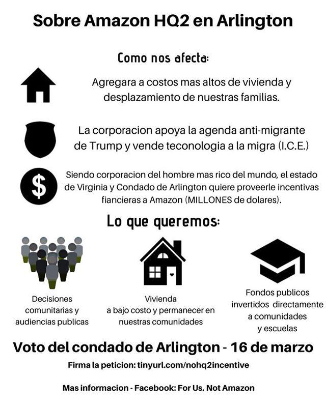 Unase a nosotros hoy a la 1 para expresar su oposición a que Amazon se mude a nuestra comunidad. Queremos inversión directa en nuestras comunidades, NO al desplazamiento, NO a las deportaciones, NO al destrucción ambiental.  Si no puede asistir, envíe un correo electrónico al condado de Arlington directamente a countyboard@arlingtonva.us y firma la petición en nuestro perfil. #forusnotamazon