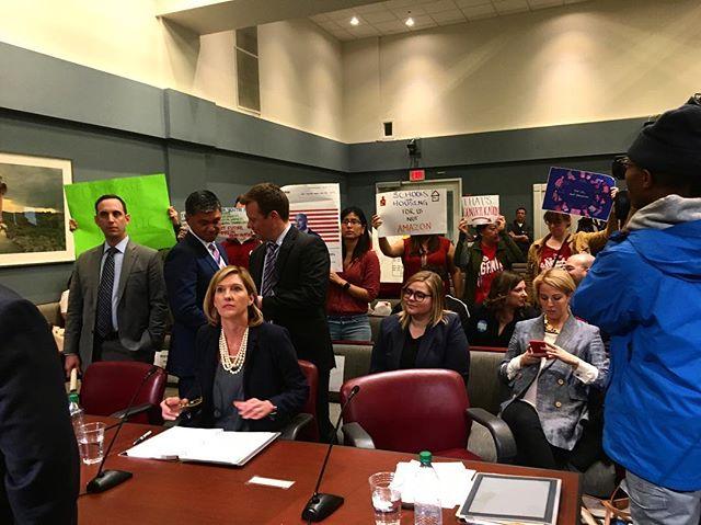 Here are Amazon's representatives. The Arlington County Board vote goes live in 5 minutes. #forusnotamazon