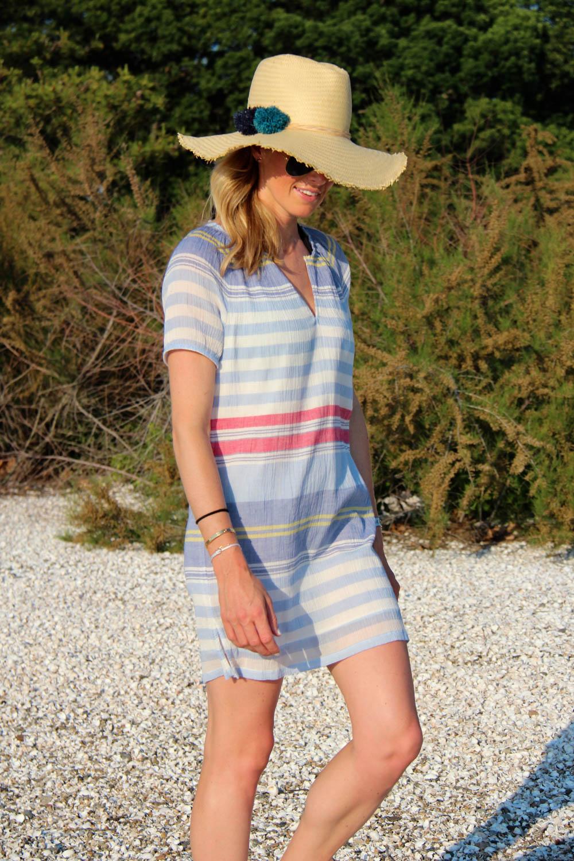 SOFT JOIE JEANA DRESS |$198 HAT ATTACK BRAIDED POM POM HAT | $105