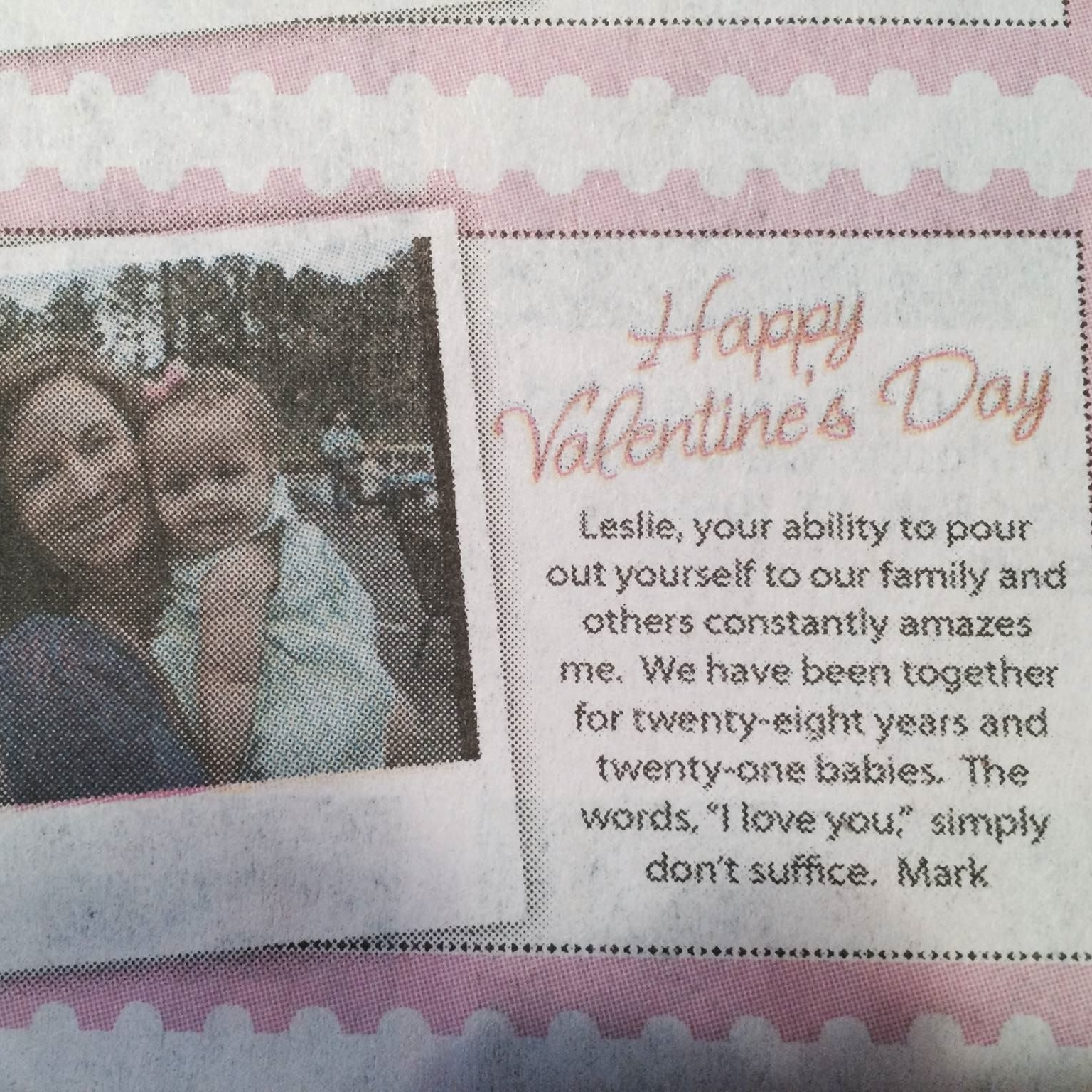Note from Mark to Leslie in the newspaper