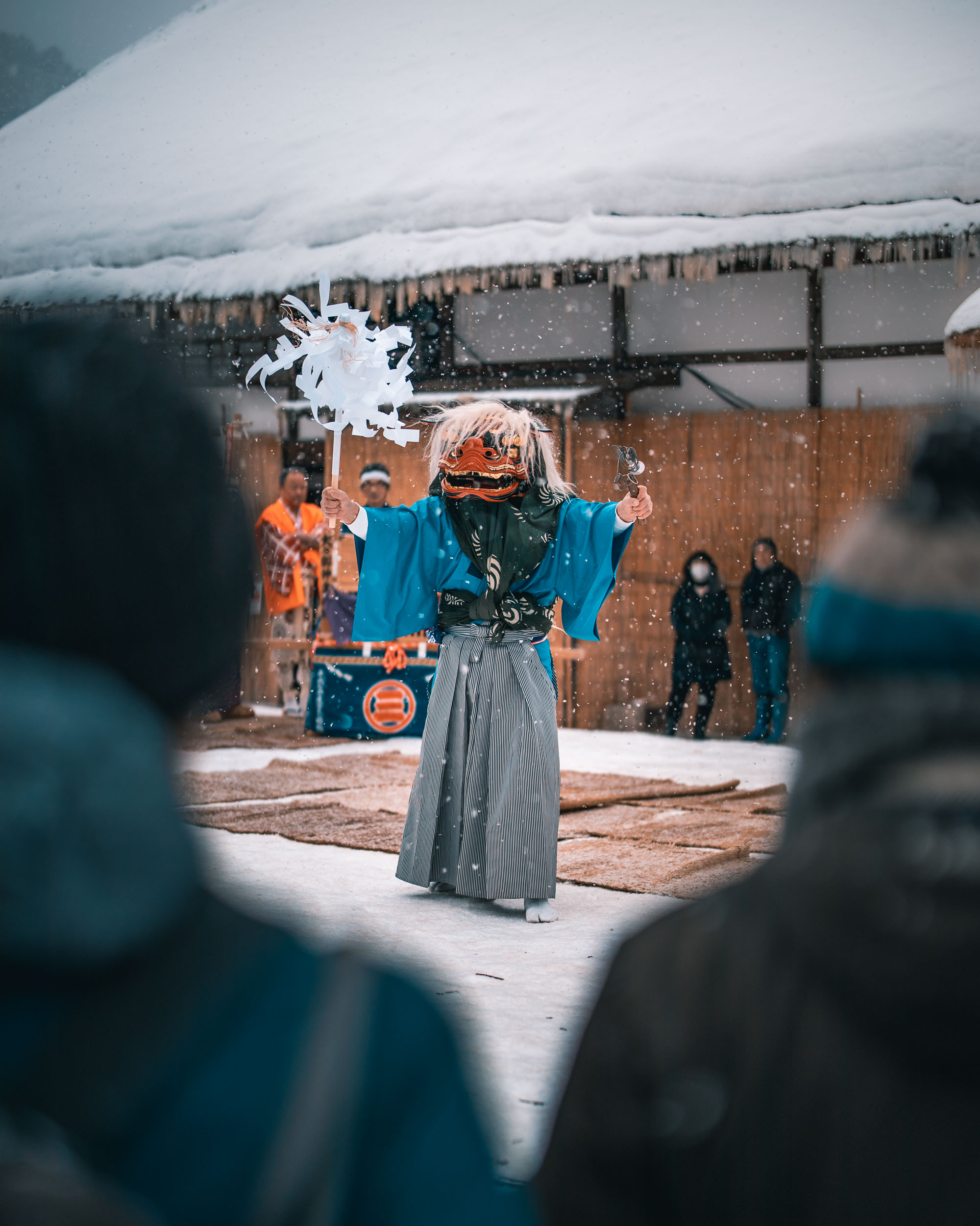 Local performance at Ouchi-juku Snow Festival