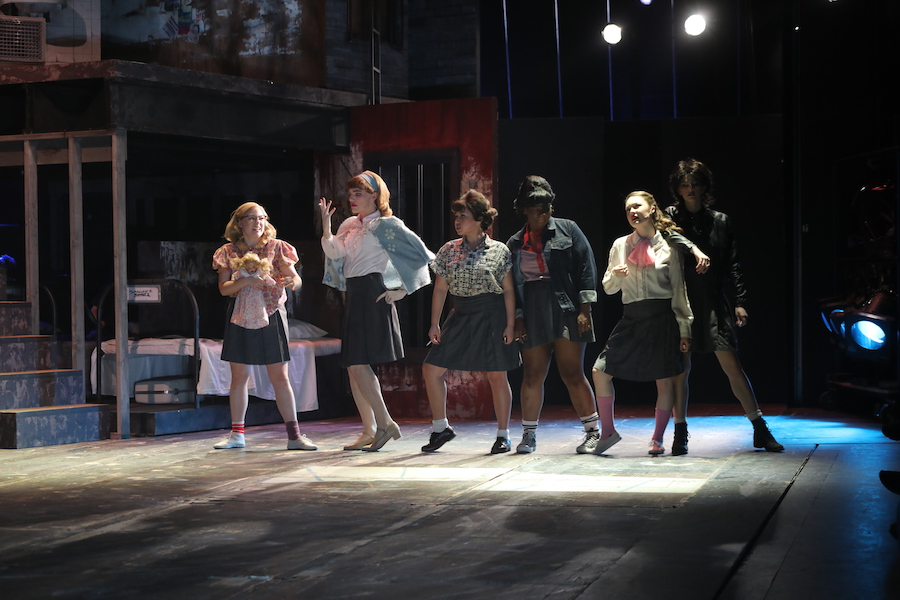 """Morgan Hecker, Caleb Smith, Jasmine, Mikayla McKasy, Lena Skeele, and Katie Griffith perform in """"Love in Hate Nation"""" at Penn State University's Playhouse Theatre. (Photo by Jack Bowman)"""