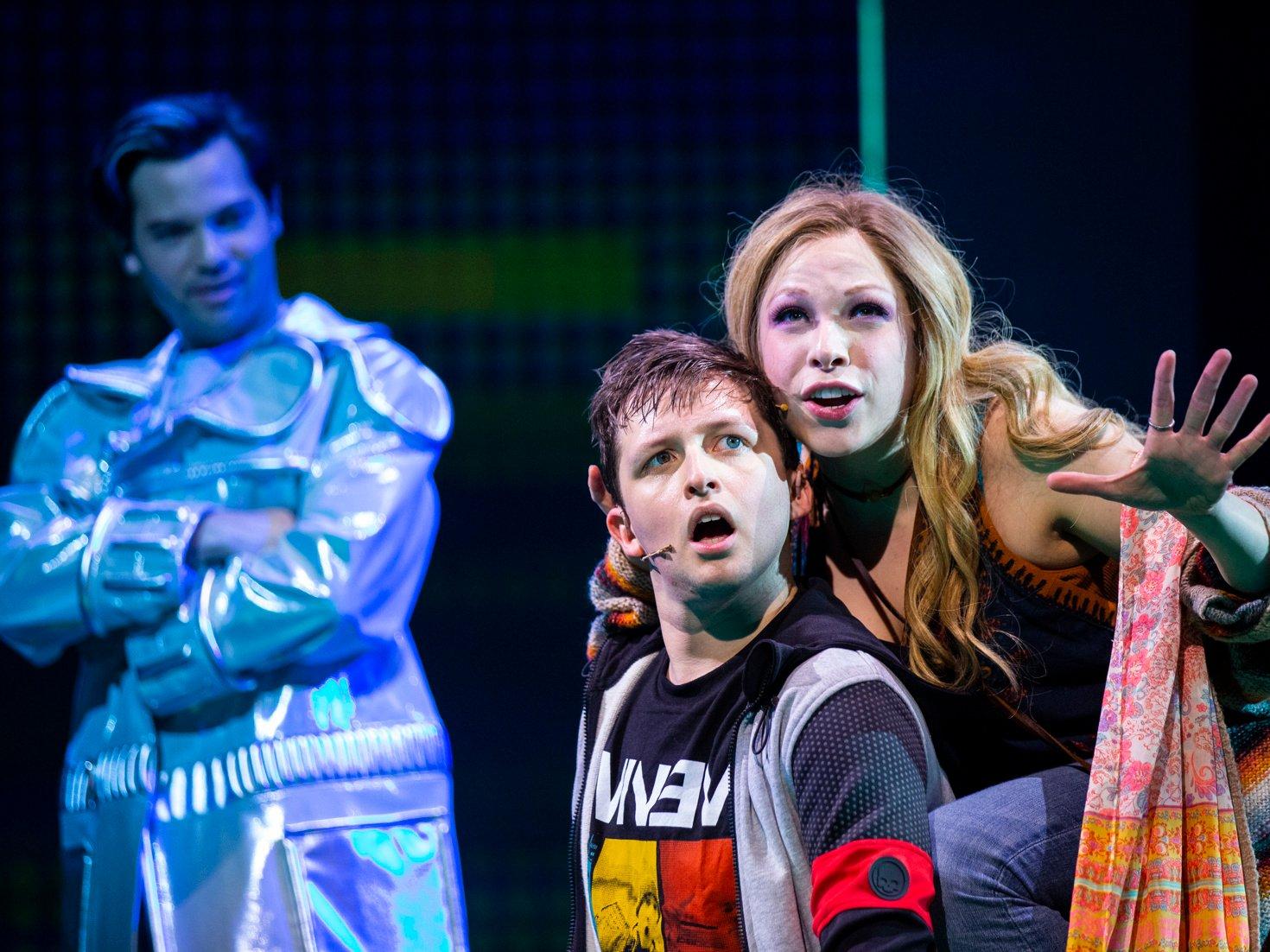 "Jason Tam, Will Roland & Lauren Marcus in ""Be More Chill"" (Photo: Maria Baranova)"