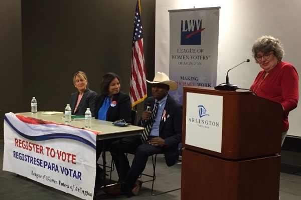 Candidates for School Board Allison Dough, Monique O'Grady, Mike Webb, and LWV Arlington moderator Joan Porte